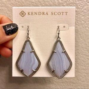 Kendra Scott Blue Lace Agate Alex Earrings